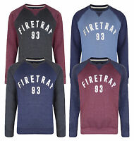 Firetrap New Men's Print Crew Neck Sweatshirt Solon Sweat Top Grey Red Blue