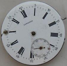 Longines Pocket Watch movement & enamel dial 43 mm. in diameter balance broken