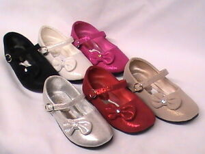 Girls Metallic Suede Shoes lil Bow (carley20) TODDLER Pageant Party Dress Shoe