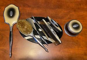 Art Deco Vanity Dresser Set Brush 8 Piece Vintage Set. Brush. Mirror. Comb. Etc.