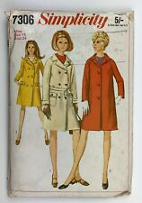 """1960's Vintage Sewing Pattern Simplicity 7306 Misses Lined Coats Bust 34"""""""