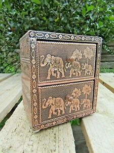 Hand Carved Made Wooden Aluminium Elephant Jewellery Holder Box Drawer Case