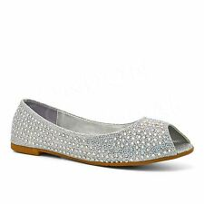 New Womens Diamante Ballet Flats Peep Toe Pumps Ladies Ballerinas Dolly Shoes UK