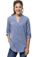 New Jack Wolfskin Womens Indian Springs Shirt Long Sleeve Small Blue Stripes NWT