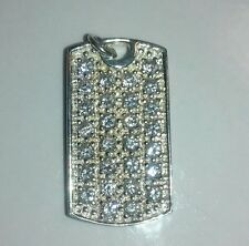 VINTAGE Sterling Silver Cubic Zirconia Dog Tag Pendant