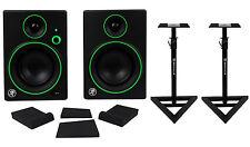 "Pair Mackie CR4BT 4"" Studio Monitors/Computer Speakers w/ Bluetooth+Stands+Pads"
