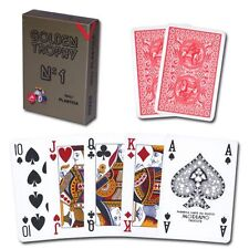 Modiano 100% plastic Gold Trophy 4-PIP poker/regular index Playing Cards RED