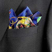 Men's Pocket Square Handkerchief Wedding Fashion Dress Floral Silk Blue Hanky