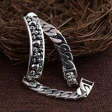 "8.37""  925 Sterling Silver skull  link bracelet bangle Jewelry new P1027"