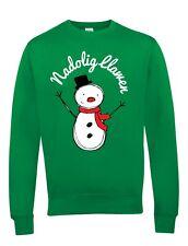 Nadolig Llawen Christmas Sweatshirt - Green Jumper with Snowman Design