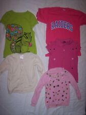 Girls size S mixed lot of 2 long sleeve tops, 2 short sleeve tops, and 1 sweater