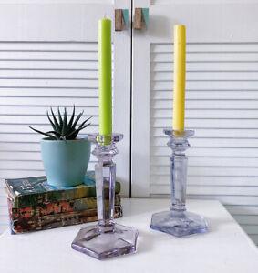 Vintage Glass Pair Candlesticks Holder Art Deco Minimalist Column Depression Era