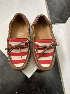 NIB 100% AUTH Gucci Toddler Red Strip Leather Trim Moccasins Green/Red/Green Web