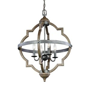 Sea Gull Lighting Pendant Socorra Hall Foyer 4-Light Candelabra Weathered Gray