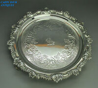 ANTIQUE GEORGIAN NICE SOLID STERLING SILVER WAITER SALVER TRAY S.C.Y SHEFF 1817