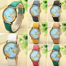Women Mens Casual Watch Denim Leather World Map Dial Quartz Wrist Watches Analog