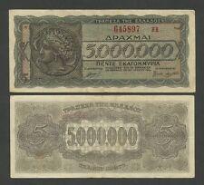GREECE  5000000 drachmai  ARETHUSA  1944  P128  GF to VF   Banknotes