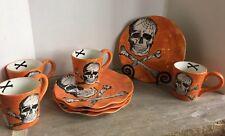 Set 8 *Maxcera Orange Halloween SKULL \u0026 BONES Dinner Plate + Mug Combo *NEW & Halloween Porcelain Dinnerware Plates   eBay