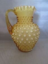 "Fenton Honey Amber Opalescent Hobnail Syrup Pitcher 5 3/4"" Tall"