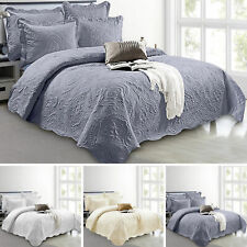 3 Piece Cotton Quilted Bedspread Bed Throw Comforter Set & 2 Pillow Shams CBS