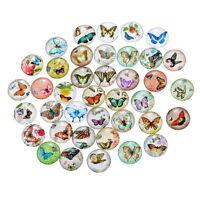 50 Mixte Cabochons Verre Papillon Motif Multicolore Ronde Pour Support 18mm