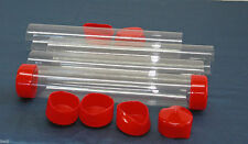 """2"""" to 3"""" Clear Plastic Packing Storage/Shipping Tube W/Cap U-Pick Color, Size"""
