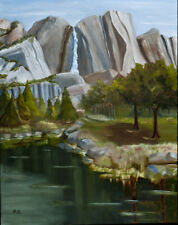 Upper Yosemite Falls - A large painting of the falls from a distant pond