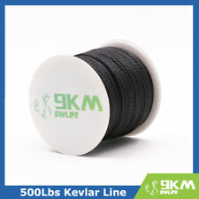 BLACK 100ft 500lbs Kevlar Braid Line String UV Resistance made with Kevlar