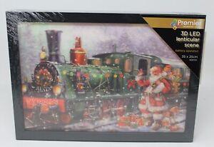 3D Santa Express Locomotive Train Light up Fibre Optic 3D LED Picture 40x30cm