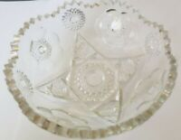 "Vintage Saw Tooth Edge Cut Glass Bowl Nice Condition Approx 6 1/2"" x 2 1/2"""