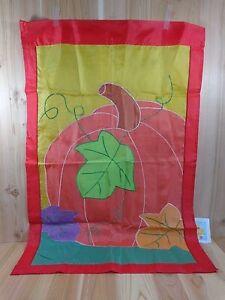 "Yard and Garden Flag Banner HARVEST PUMPKINS Fall Leaves Large 40"" x 27"" Nylon"
