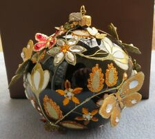 Jay Strongwater Floral Scroll Artisan Jet Black Butterfly Ball Ornament NIB