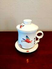 Teavana Tea Cup With Strainer Infuser Fine Porcelain China Butterflies