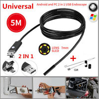 7mm 2 IN 1 Android Borescope USB Endoscope Inspection Camera 6LED Waterproof