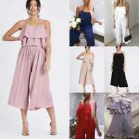 UK Women Ladies Pleated Ruffle Cami Top With Trouser Co-ords Suit 2 Pieces Set
