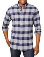 Club Room Mens Shirt Blue Size Medium M Button Down Plaid Flannel $39 #225