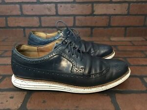 Cole Haan Lunargrand Long Wingtip Oxford In Blazer Blue Leather Size 12