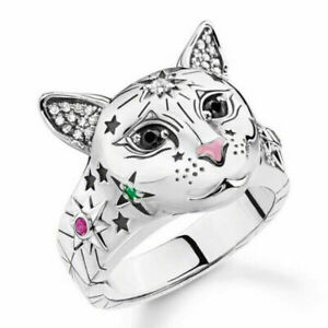Fashion Women 925 Silver Cute Cat Animal Ring Punk Wedding Party Jewelry Sz 5-11