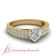 3/4 Ct 2 Row Pave Diamond Engagement Ring With Heart Shape In 14k yellow gold