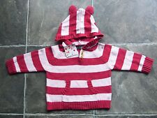 BNWT Girl's Oobi Striped Knitted Cotton Hoodie/Hooded Jumper Size 1-2