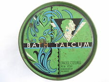 "Great Vintage ""Bath Talcum"" Tin Container w/ Green and Blue Colors *"