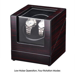 Double Watch Winder Automatic Rotation Wood Display Case Storage Japan Motor