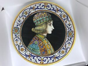 VINTAGE DERUTA ITALIAN MAIOLICA STUDIO ART POTTERY CHARGER LARGE PLATE PLAQUE