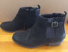 White Mountain Vegan Ankle boots 8.5 M Jaywalk Dark Brown Zip Up Faux Buckle
