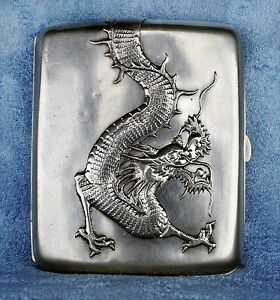 Antique 1890 Asian Chinese Export Dragon-Silver Wing Nam & Co. Cigarette Case