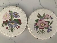 Cleminsons Floral Pottery Hand Painted Set of 2 Calif Wall Mid Century Vtg