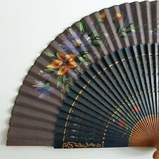 "Fine Vintage Sandal Wood Floral Hand Fan Hand Painted Scene 16"" spread 8.5"" high"