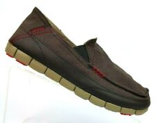 Crocs Stretch Sole Espresso/Khaki Canvas Slip On Loafer Relaxed Fit Shoe Mens 7