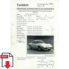 1970 Opel GT A L (GT 1900) FIA homologation form PDF download