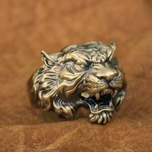 LINSION High Detail Brass Tiger Ring Mens Biker Rock Punk Ring BR130B